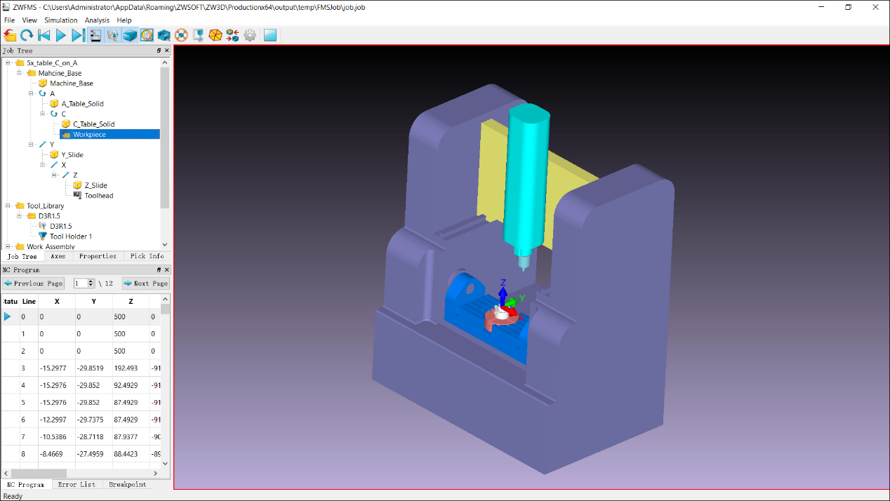 Figure 3. Full Machine Simulation to simulate the actual machining process