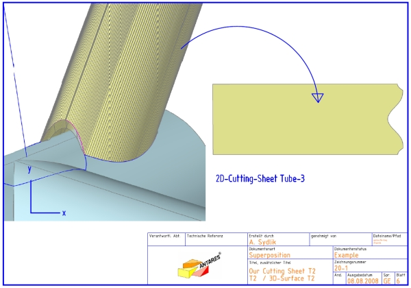 Figure 1. Unfold a 3D tube with BLACK-CAD to see the size of the 2D cutting sheet