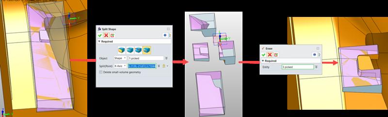 4. ábra: A szabálytalan elektróda geometriájának szerkesztése a Split Shape.png segítségével