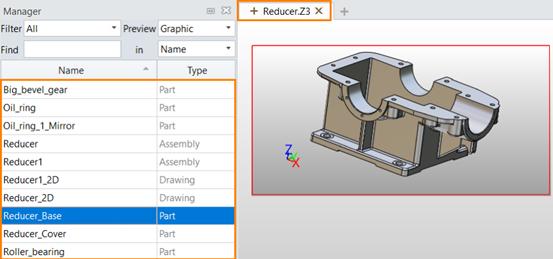 Figura 2. El archivo de objetos múltiples incluye piezas, ensamblajes y otros datos CAD que pertenecen al modelo